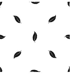 Narrow toothed leaf pattern seamless black vector