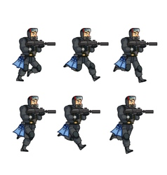 Navy Seal Running Sprite vector
