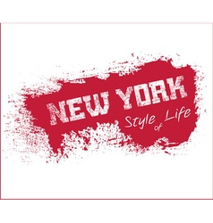 NYC t-shirt grunge red vector image