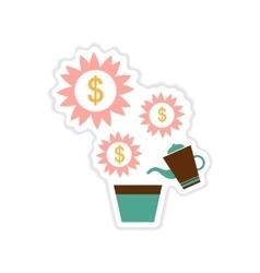 Paper sticker on white background Money Tree vector