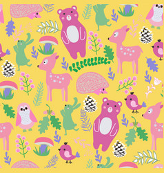 Pattern with cute cartoon forest animals baby vector