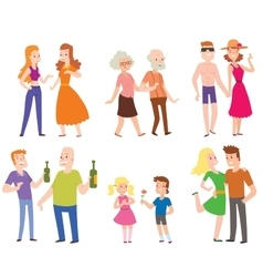 People couples men women and old men with boys vector image