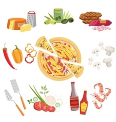 Pizza Ingredients And Cooking Utensils Set vector