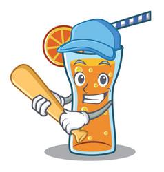Playing baseball cocktail character cartoon style vector