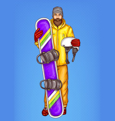 pop art bearded man with snowboard vector image