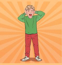 Pop art screaming boy tearing his hair aggressive vector