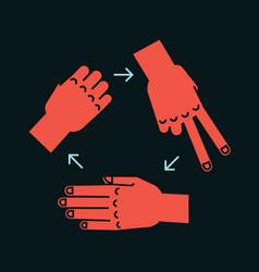 Rock scissors paper gestures stylized hands in vector