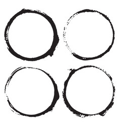 round frames grunge textured hand drawn elements vector image