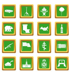 Russia icons set green vector