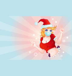 santa girl for christmas vector image