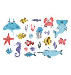 Sea life set hand drawn algae blowfish vector