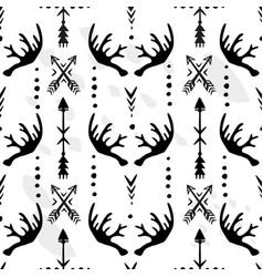 seamless pattern with of antlers and arrows vector image