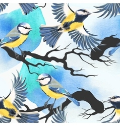 Seamless tomtit and watercolor blots vector image