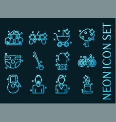 set fatherhood blue glowing neon icons vector image
