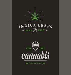 set medical cannabis marijuana sign or label vector image