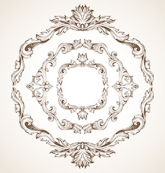 Set of circle vintage frames vector