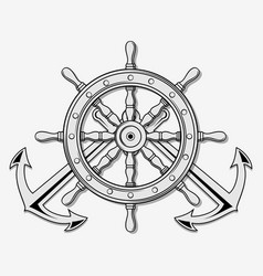 Ship steering wheel and crossed nautical anchors vector