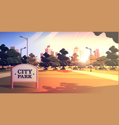 sign board in city park beautiful summer day vector image