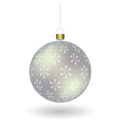 silver christmass ball with snowflakes print vector image