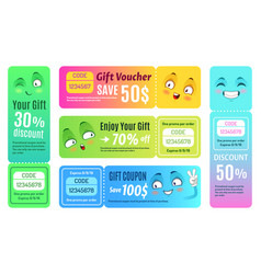 Smiling promo voucher happy gift coupon funny vector