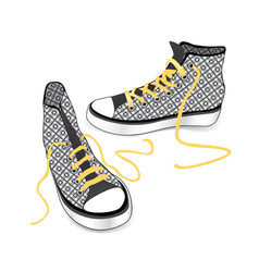 sneakers isolated patterned fabric fashion sport vector image