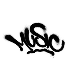 sprayed music font graffiti with overspray in vector image