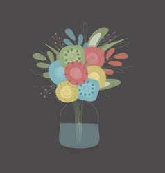 spring bouquet in a jar vector image