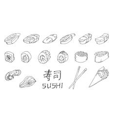 Sushi set hand drawing vector image