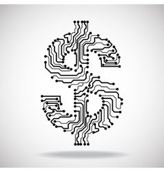 Symbol of dollar Circuit board vector image