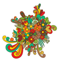 tangle pattern of colorful flowers vector image