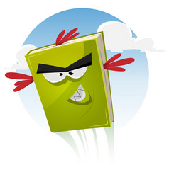 Toon bird book character flying vector