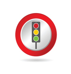 traffic light icon in red circle vector image