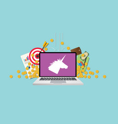 unicorn company startup with laptop and money vector image