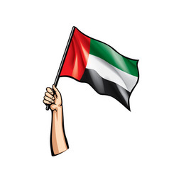 United arab emirates flag and hand on white vector