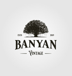 vintage retro banyan tree logo icon vector image