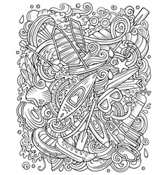 Water sports hand drawn doodles vector