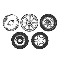 wheels sketch engraving vector image