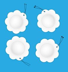 White paper flower labels vector