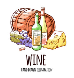 wine hand drawn with vector image