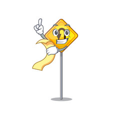 With menu u turn sign with a mascot vector