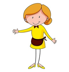 Woman in waitress clothing vector
