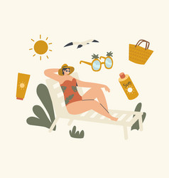 Woman lounging on chaise lounge under sun rays vector