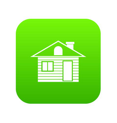wooden log house icon digital green vector image