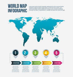 world map infographic steps info arrow concept vector image