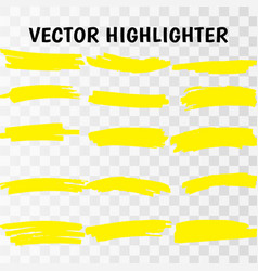 yellow highlighter marker strokes vector image