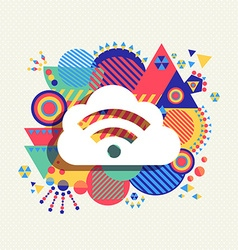 Cloud computing icon vibrant colors vector image vector image