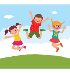 Funny jumping children vector image