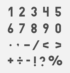 Hand drawn numbers and symbols set vector image