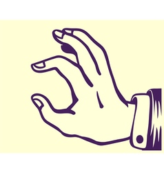 Retro hand holding thing between thumb and index vector image
