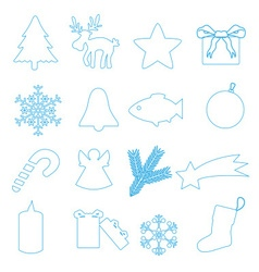 simple blue outline merry christmas icons eps10 vector image vector image